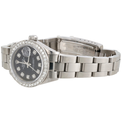 Ladies Stainless Steel Diamond Watch Rolex 6917 Datejust Oyster Black Dial 1 CT.