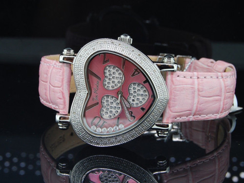 LADIES JOE RODEO JOJO MOVING HEARTS LOVE .75CT DIAMOND WATCH FLOATING STONES JH3