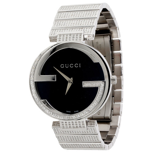 Gucci Diamond Watch GC YA133307 Ladies 37mm Interlocking Brushed Black Dial 3 ct