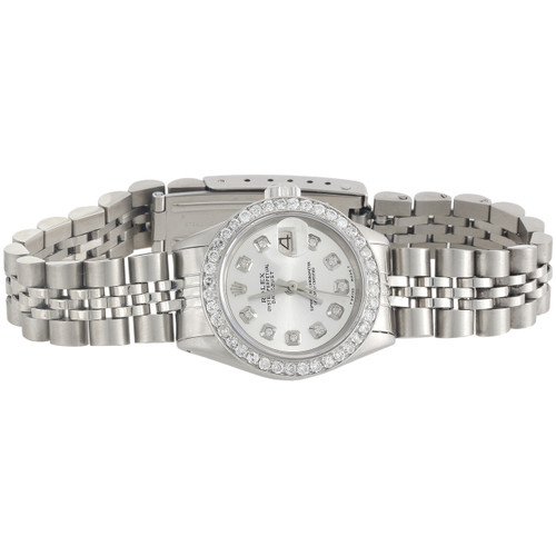 Ladies Rolex 26mm DateJust Diamond Watch Jubilee Band Shiny Silver Dial 1 CT.