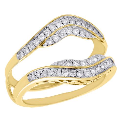 10K Yellow Gold Diamond Enhancer Ring Wrap Jacket Contour Wedding Band 0.44 Ct.