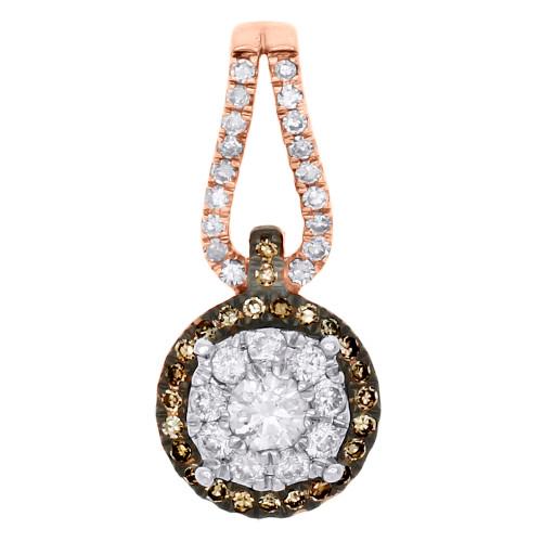 14K Rose Gold Brown Diamond Flower Pendant Cluster Necklace 0.50 CT.