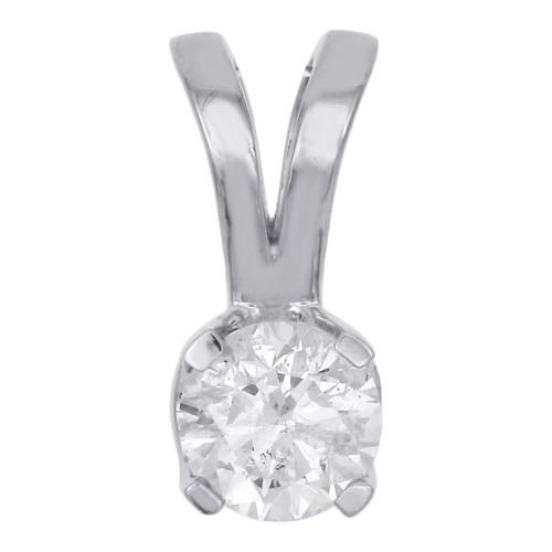 14K White Gold Real Round Solitaire Diamond Pendant Ladies 5.08mm Charm 1/2 CT.