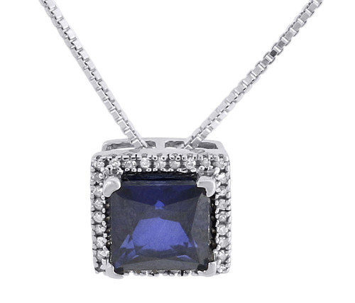 Diamond Necklace Sterling Silver Created Blue Sapphire Square Pendant 1.95 Tcw