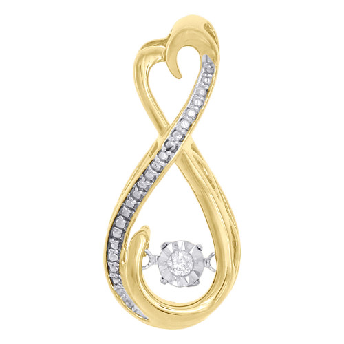 10K Yellow Gold Real Dancing Diamond Infinity Heart Slide Pendant Charm 0.03 CT.
