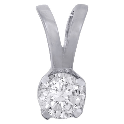14K White Gold Round Solitaire Diamond Pendant Ladies Necklace 0.25 CT.