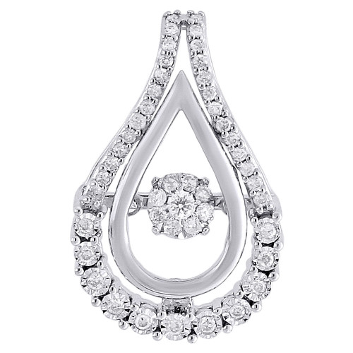 10K White Gold Dancing Diamond Double Teardrop Slide Pendant  0.25 CT.