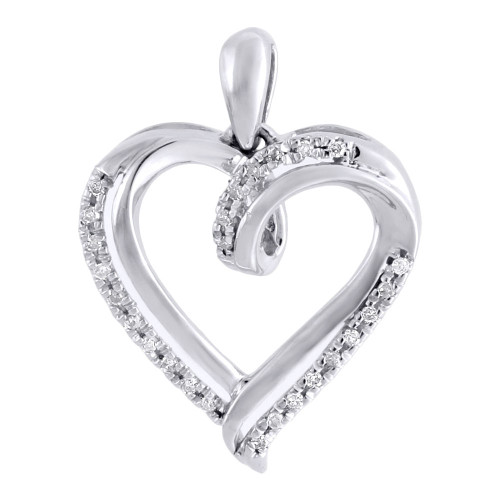 Diamond Heart Pendant Necklace 10K White Gold Round Love Charm 0.10 CT.
