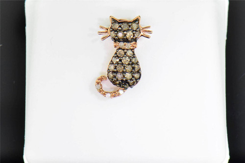 Champagne Diamond Cat Pendant 10K Rose Gold .33 Ct Meow Charm