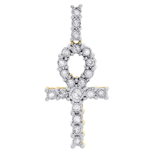 10K Yellow Gold Round Cut Diamond Egyptian Ankh Cross Pendant Mini Charm 0.37 Ct