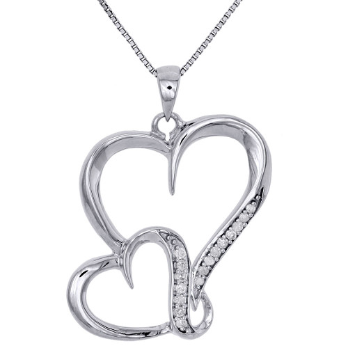 .925 Sterling Silver Diamond Interlinked Heart Ladies Pendant w/ Chain 0.10 CT.