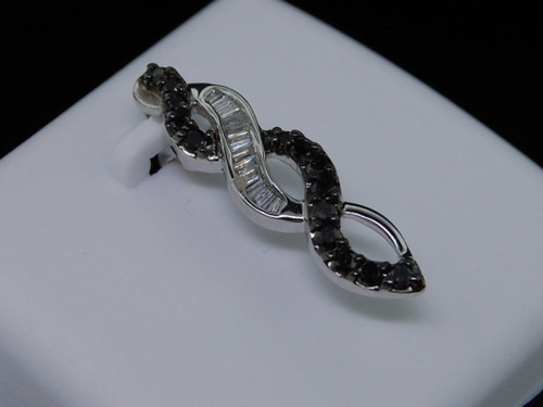 LADIES 14K WHITE GOLD BLACK DIAMOND PENDANT CHARM PAVE