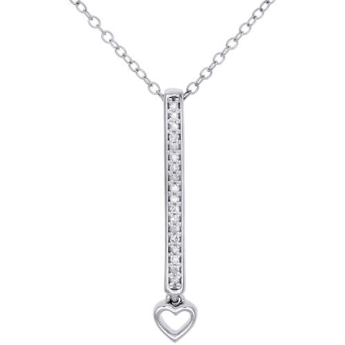 "10K White Gold Diamond Vertical Bar Pendant w/ Heart 18"" Necklace 1/12 CT."