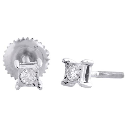 10K White Gold Round Diamond Bezel Set 4 Prong Unisex Studs 4mm Earring 1/10 CT.