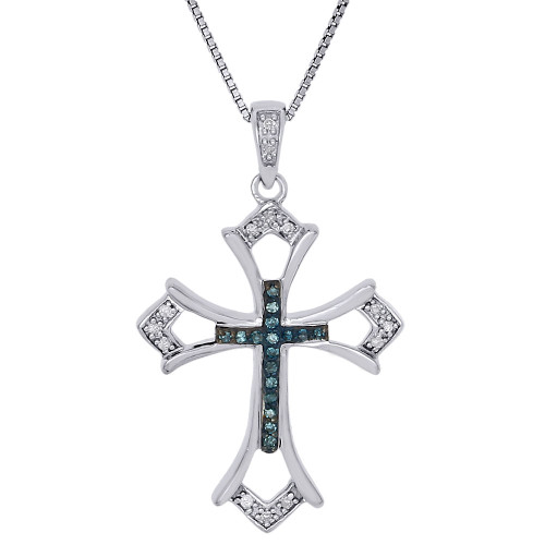.925 Sterling Silver Blue Diamond Cut Out Budded Cross Pendant w/ Chain 0.10 Ct.
