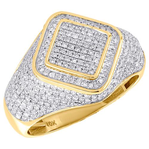 10K Yellow Gold Mens Round Cut Pave Diamond Gem Shape Style Pinky Ring 0.94 Ct.