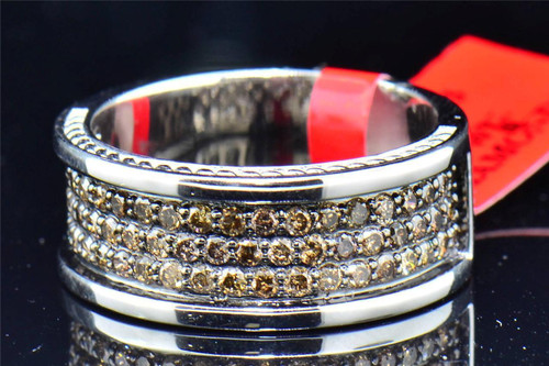 .925 Sterling Silver Brown Genuine Diamond Engagement Ring Wedding Band 1.25 Ct.