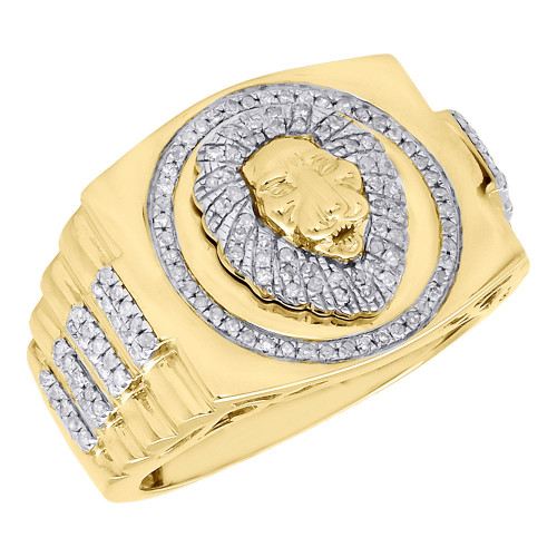 10K Yellow Gold Round Diamond Raised 3D Lion Head Mens Pinky Ring Band 0.59 ct.