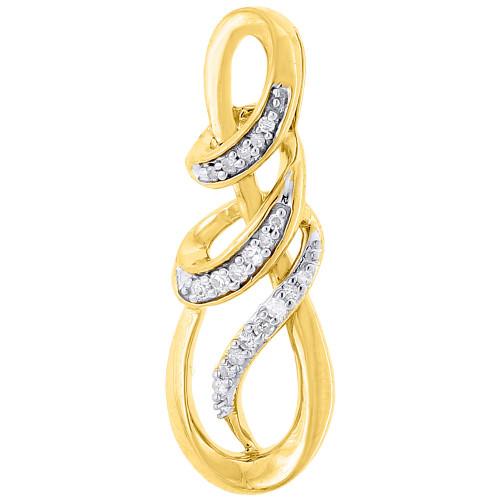 Infinity Loop Design Diamond Pendant Yellow Gold Charm 0.10 CT.