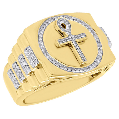 10K Yellow Gold Round Diamond Egyptian Ankh 3D Mens Pinky Ring Band 0.48 ct.