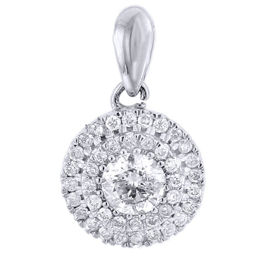 Round Diamond Solitaire Pendant 10k White Gold Necklace .50 CT.
