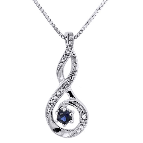 Diamond Pendant Charm 925 Sterling Silver Created Blue Sapphire w/ Chain 0.28 Ct