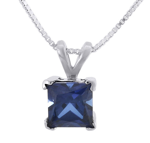 Created Blue Sapphire Square Necklace .925 Sterling Silver Pendant 1.30 Tcw.