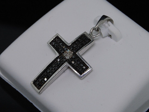 LADIES .925 STERLING SILVER BLACK DIAMOND CROSS PENDANT 0.15 CT