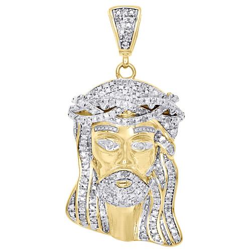 ".925 Sterling Silver Mens Real Diamond Mini Micro Jesus Face Pendant Charm 1.40"""