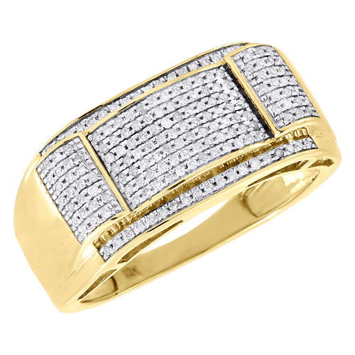 Diamond Wedding Band Mens 10K Yellow Gold Round Pave Engagement Ring 0.36 Ct.
