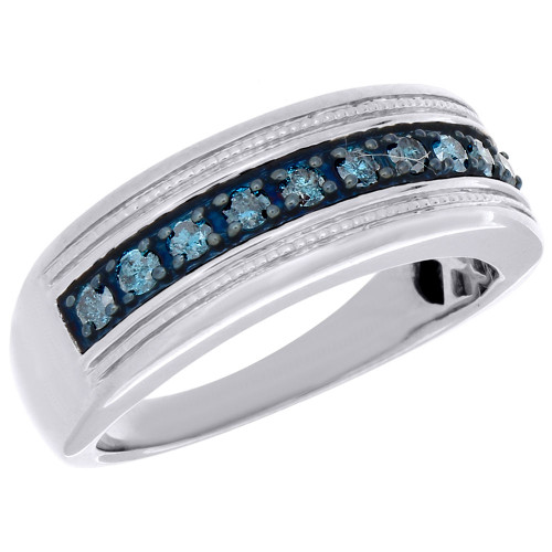 .925 Sterling Silver Mens Blue Diamond Wedding Band Round Engagement Ring .50 Ct