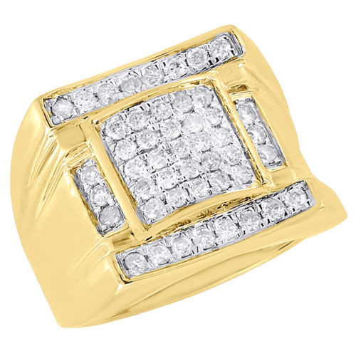 10K Yellow Gold Mens Round Cut Diamond Pave Set Square Domed Pinky Ring 1 Ct.