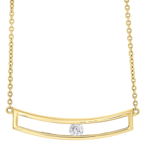 """14K Yellow Gold Sliding Bar Diamond Pendant Necklace 15.75"""" Cable Chain 0.10 CT."""