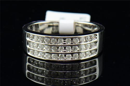 Mens 14K White Gold 3 Row Round Diamond Wedding Band Channel Set Ring 1/2 CT.