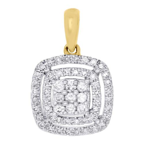 14K Yellow Gold Diamond Double Halo Square Cluster Pendant 0.33 CT.