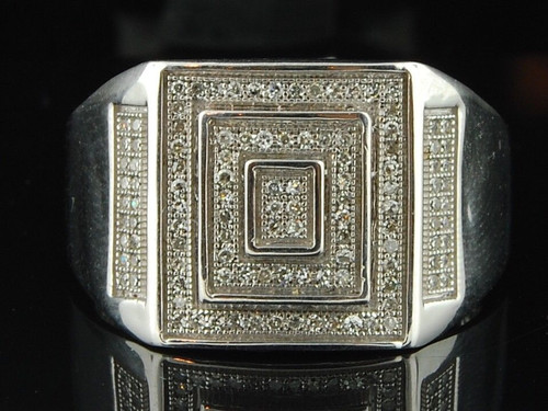 Diamond Pinky Ring Mens 10k White Gold Designer Fashion Pave Band 0.33 Ct.
