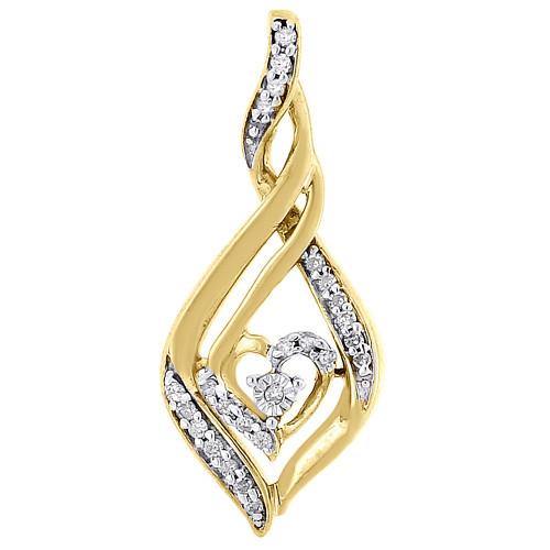 Heart Solitaire Diamond Pendant Yellow Gold Round Charm 0.14 CT.