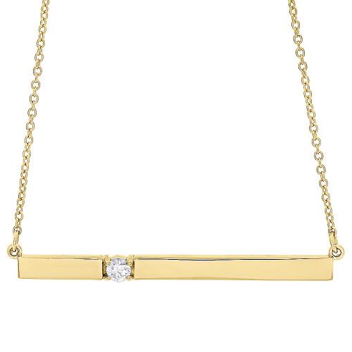"14K Yellow Gold Rectangular Diamond Bar Pendant Necklace 16"" Cable Chain 0.10 CT."