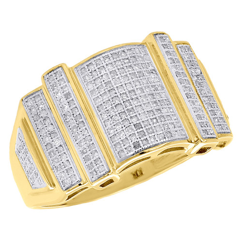 10K Yellow Gold Mens Diamond Statement Pinky Ring Round Cut Pave Set 0.60 Ct.