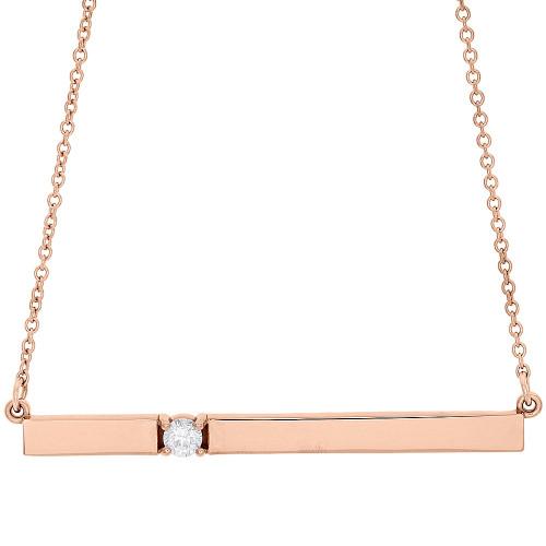 "14K Rose Gold Rectangular Diamond Bar Pendant Necklace 16"" Cable Chain 0.10 CT."