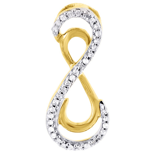 10k Yellow Gold Round Diamond Infinity Pendant  Necklace 0.10 CT.