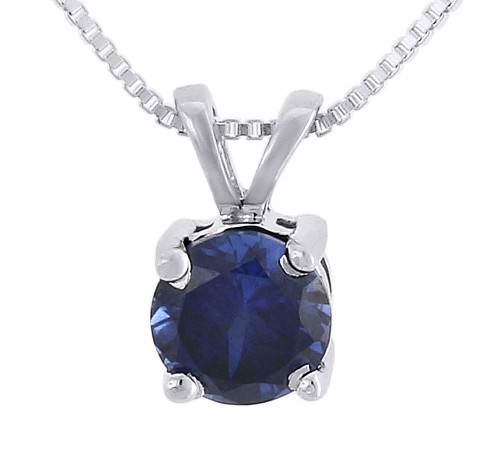 Created Blue Sapphire Round Necklace .925 Sterling Silver Pendant 1.30 Tcw.