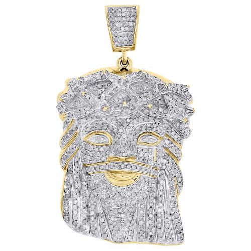 "10K Yellow Gold Real Diamond Jesus Piece Face Pendant 2"" Mens Pave Charm 2.55 CT"