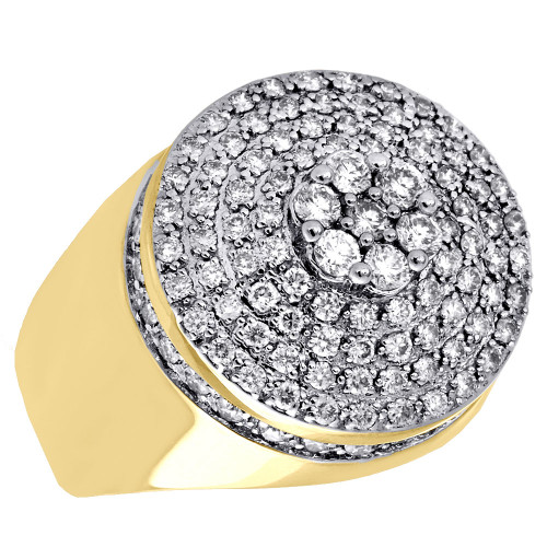 10K Yellow Gold 3D Cluster Domed Round Diamond Pinky Ring Mens Band 2.30 Ct.