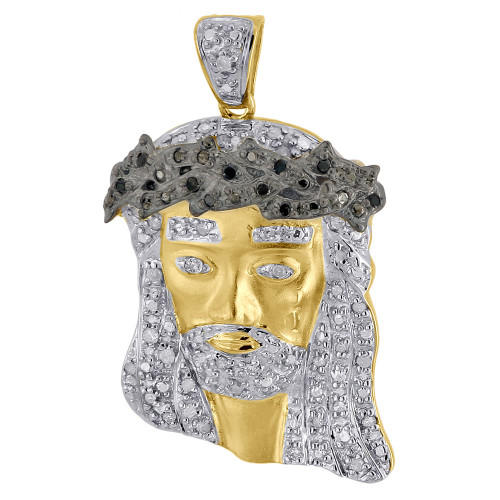 .925 Sterling Silver Diamond Jesus Face Piece Satin Pendant Pave Charm 0.26 Ct.