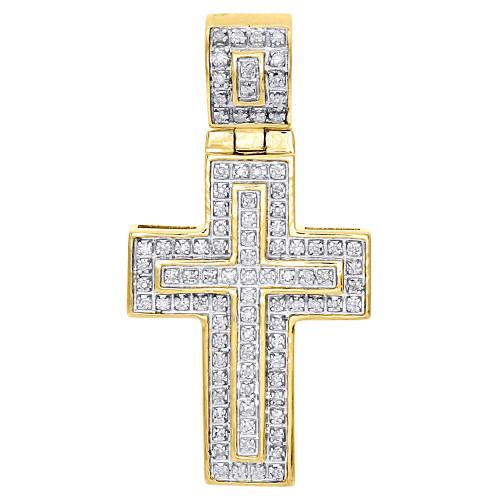 "10K Yellow Gold Genuine Diamond Mini Cross Pendant 1.45"" Mens Flat Charm 0.25 Ct"