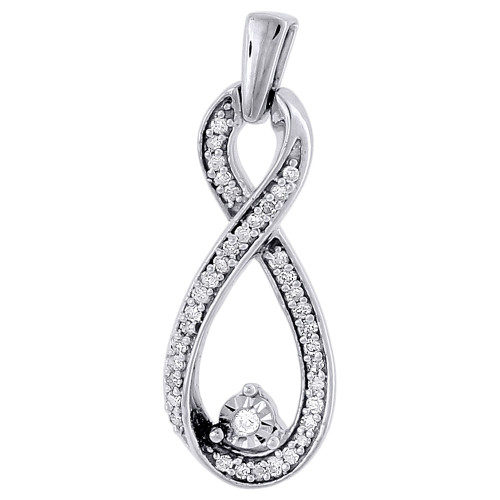 Double Infinity Diamond Pendant White Gold Round Charm 0.16 Ct.