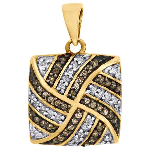 Brown Diamond Square Pendant 10K Yellow Gold 0.25 CT. Charm