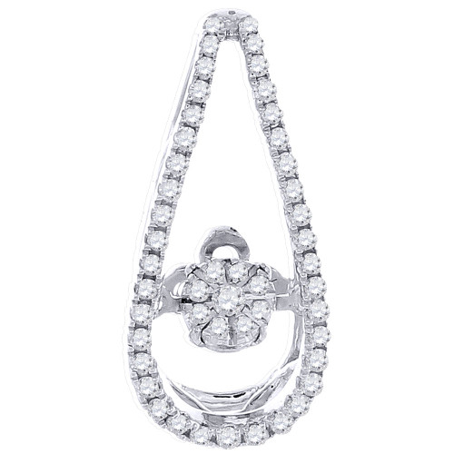 Dancing Diamond Solitaire Pendant Ladies White Gold Round Cut Charm 0.25 Ct.