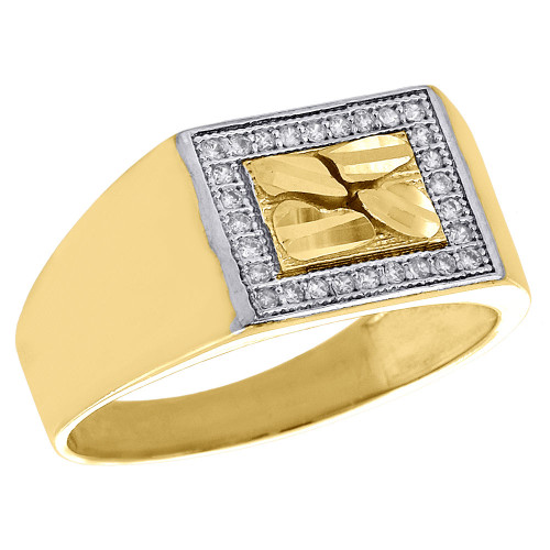 10K Yellow Gold Ore Center Mens Nugget Style Pinky Ring Simulated Diamond 9.50mm
